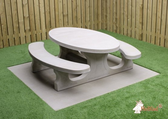 Picnic table Standard Oval Natural Concrete