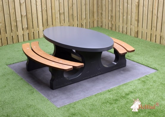 Concrete Picnic table DeLuxe Oval Anthracite