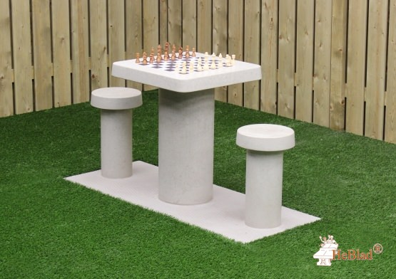 Chess Table Natural Concrete (2P)