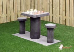 Concrete Chess Table, Anthracite-Concrete, for 2 people