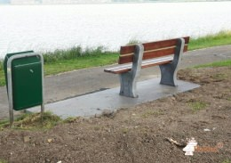 Park Bench, Anthracite-Concrete, 330cm long with preparation for a garbage bin