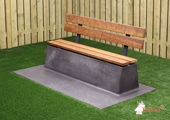 Bench DeLuxe with bottom plate and backrest Anthracite-Concrete