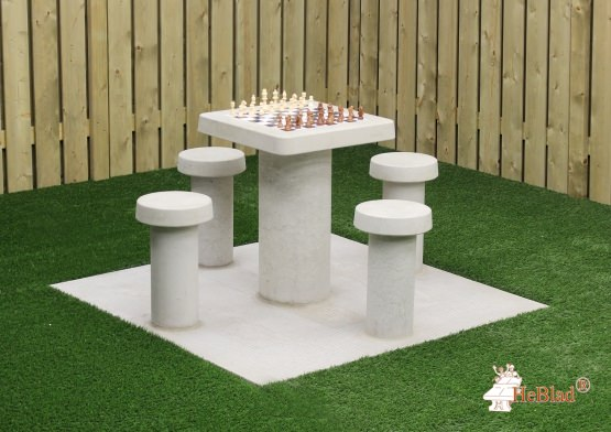 Chess Table Natural Concrete (4P)