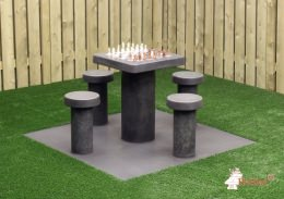 Concrete Chess Table, Anthracite-Concrete, seats 4 people