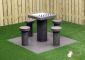 Checkers Table, Anthracite-Concrete,  seats 4 people