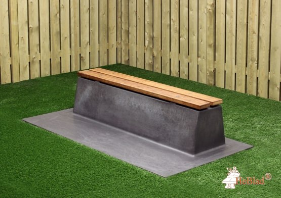 Bench DeLuxe with bottom plate without backrest Anthracite-Concrete